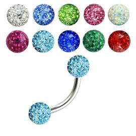 Piercing do obočí - Crystals from SWAROVSKI® Pink