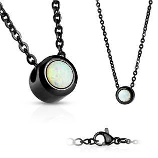 Černý ocelový náhrdelník s opálem bílé barvy
