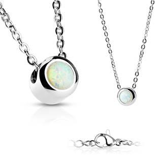 Ocelový náhrdelník s opálem bílé barvy