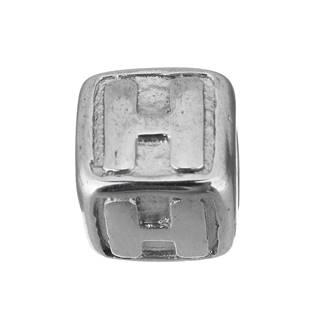 """Navlékací ocelový přívěšek korálek - písmeno """"H"""""""