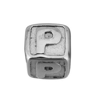 """Navlékací ocelový přívěšek korálek - písmeno """"P"""""""