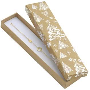 Vánoční dárková krabička na náramek - stříbrný motiv