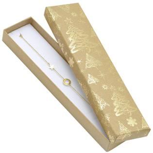 Vánoční dárková krabička na náramek - zlatý motiv