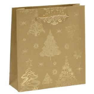 Vánoční dárková taška - zlatý motiv