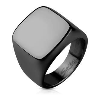 Černý pečetní ocelový prsten, vel. 61