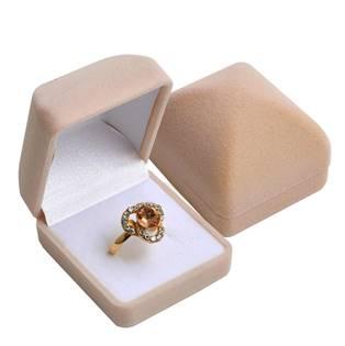 Béžová semišová dárková krabička na prsten