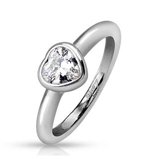 Ocelový prsten - srdíčko, vel. 50