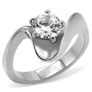 Ocelový prsten se zirkonem, vel. 50