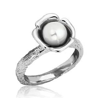 Ocelový prsten s bílou perličkou, vel. 55