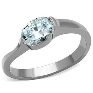 Ocelový prsten s oválným zirkonem