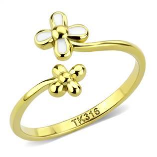 Zlacený ocelový prsten s kytičkami