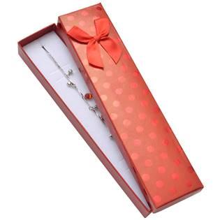 Dárková krabička na náramek, červená s lesklými puntíky
