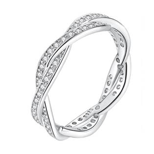 Rhodiovaný prsten propletený, vel. 52
