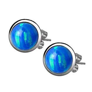 Ocelové náušnice, modrý OPÁL 6 mm