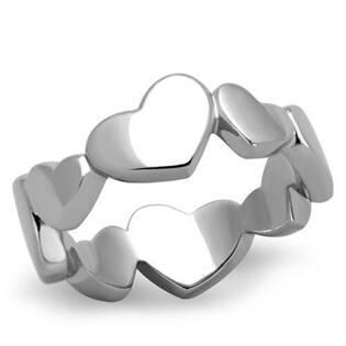 Ocelový prsten se srdíčky