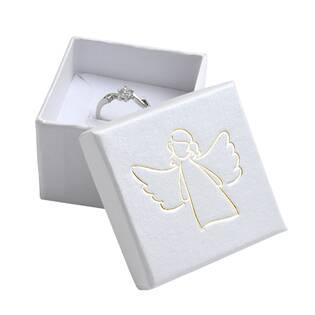 Bílá dárková krabička, zlatý anděl