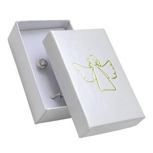 Bílá dárková krabička na soupravu, zlatý anděl