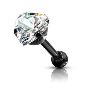 Cartilage piercing do ucha srdíčko, čirý zirkon 4 mm