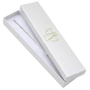 Bílá dárková krabička na náramek, zlatý anděl
