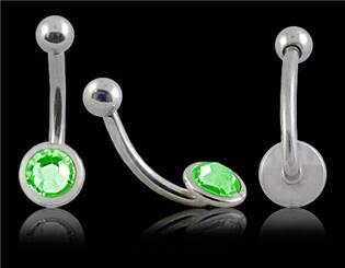 Piercing do obočí - zelený zirkon