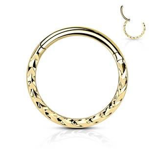 Zlacený segment kruh s dekorem - helix / cartilage / tragus piercing