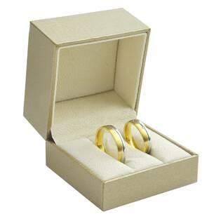 Zlacená koženková krabička na snubní prsteny