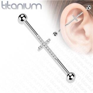 Industrial piercing TITAN - kříž