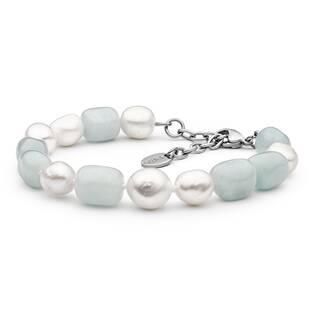 Perlový náramek z pravých říčních perel a akvamarínů