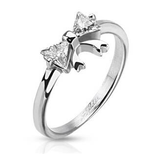 Ocelový prsten - mašlička se zirkony