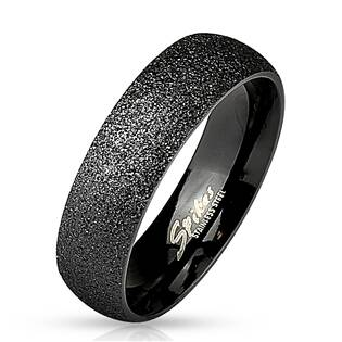 Černý ocelový prsten pískovaný, šíře 6 mm