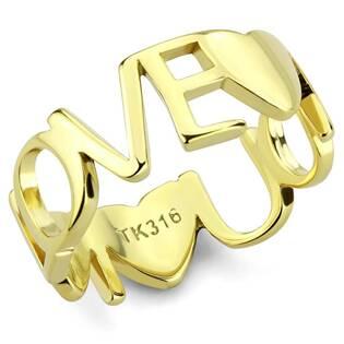 Zlacený ocelový prsten LOVE