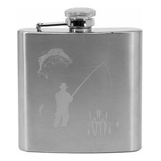 Ocelová kapesní lahev - placatka rybář 180 ml v dárkovém balení