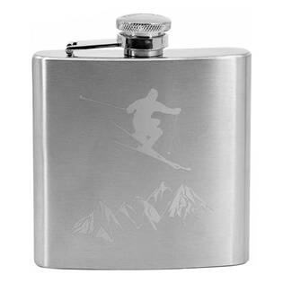 Ocelová kapesní lahev - placatka lyžař 180 ml v dárkovém balení