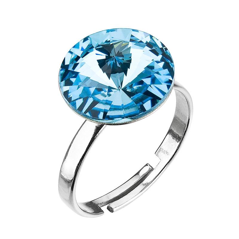Stříbrný prsten s kamenem Crystals from Swarovski® Aqua  d7114f2e0aa
